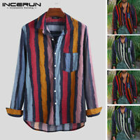 Men Fashion Colorful Shirt Long Sleeve Striped Printed Casual Hawaiian Beach Top