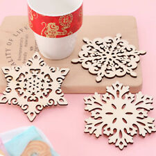2Pcs/set Wooden Carved Snowflake Mug Coasters Coffee Tea Drinks Cup Mats Holder