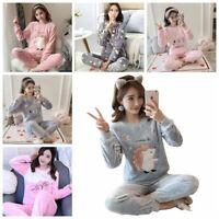 Ladies Cartoon Printed Flannel Soft Comfort Pyjamas Set Long Sleeve Nightwear Pj