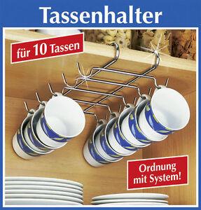 Tassenhalter Becherhalter Tassen Aufbewahrung Hängeregal Küchen Ordnungshelfer