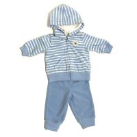 JUST ONE YOU CARTER'S Baby Boy 3 Month Blue Stripe Zip Up Hoodie Pants Set