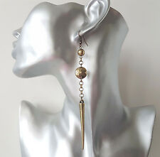 Gorgeous Long antiguo vintage y cadena de oro de tono Spike Drop-colgantes pendientes