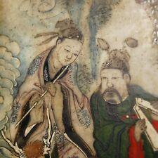 Chinese antique marble plaque table screen, Hand painted, Exquisite Rare! 18/19C