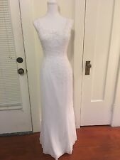 Bridal Originals designer white beaded bridal wedding dress gown size 8 medium