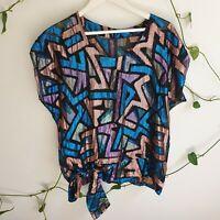 Vtg 80s Ultra Sparkly Geometric Tie Top Shirt M-L Semi-Sheer Handmade Glam Disco