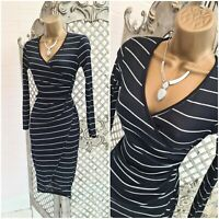 Boohoo UK 8 New Navy Striped Rib Knit Mock Wrap Midi Dress Office Career