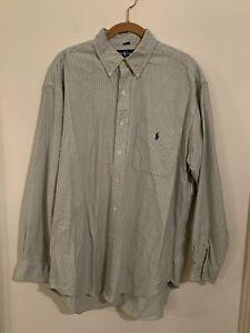 """Polo Ralph Lauren Long Sleeve Green Striped Button Down """"Big Shirt"""" Men's Medium"""