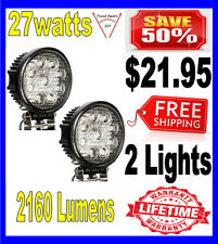 2X 27W 27watt 12V 24V 2160Lumen Offroad SUV LED Round Work Light Truck Boat Lamp