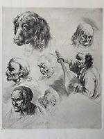 Jean Jacques De Boissieu Gravure Eau Forte Etching Étude Portrait Homme Chien