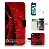 ( For iPhone 6 / 6S ) Wallet Case Cover! Beautiful Red Rose Flower P0266