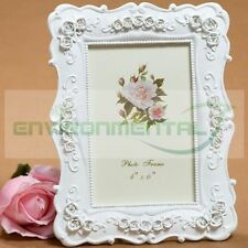 "4""*6"" Retro White Fresh Floral Square Classic Resin Wedding Photo Frame Set Qty1"