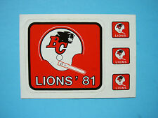 1981 B.C. LIONS CFL FOOTBALL HELMET DECAL LOGO STICKER PANEL SHARP UNUSED '81 BC