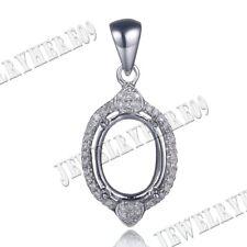 Solid 10K White Gold Women`s OVAL CUT 8X10MM DIAMOND SETTING SEMI MOUNT PENDANT