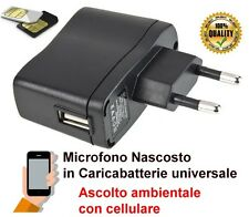 Microfono ambientale nascosto in caricabatterie usb cellulare, cimice GSM spia