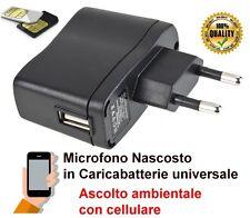 Microfono ambientale nascosto in caricabatterie usb cellulare, cimice GSM spia