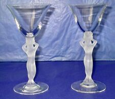BAYEL Crystal France Two Vintage Frosted Nude Stem White Wine Glasses 1960s