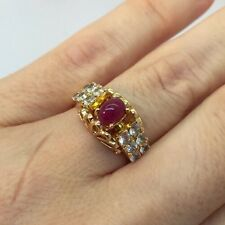 18k Yellow Gold Cabochon Ruby Vintage Artisan Filigree Cocktail Wedding Ring 7