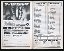 1993 Fosters Cup Hawthorn v Richmond Quarter Final Football Record Tigers won