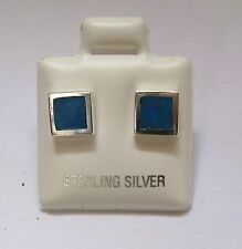 Sterling Silver Solid Synthetic Turquoise Square Stud Earrings