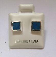Sterling argento massiccio turchese sintetico Orecchini quadrati a perno