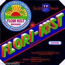 Tampa Florida Flori-Kist Orange Citrus Fruit Crate Label Vintage Art Print