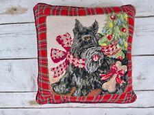 Scottie Scottish Terrier Needlepoint Throw Pillow Red Plaid Christmas Tree Bow
