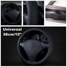 38cm Universal Black Luxury Leather Car Steering Wheel Cover Car Accessories