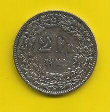 2 Fr.-Silber-Münze-Schweiz-1921 B-9,9 Gramm-