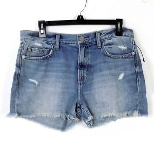 Current Elliott The Boyfriend Shorts Size 28 Blue Jeans Frayed Rips MSRP $198