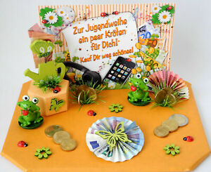 Geldgeschenke Jugendweihe KRÖTEN FÜR DICH Frosch Geschenkschachtel versch.Farben