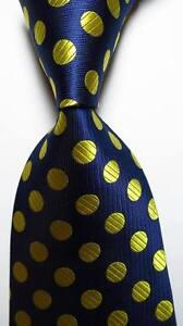 New Classic Polka Dot Dark Blue Gold JACQUARD WOVEN 100% Silk Men's Tie Necktie