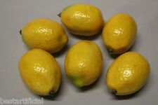 6 Best Artificial 6.5cm Weighted LEMONS Decorative Realistic Fruit bowl kitchen