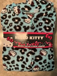 L Large Fleece Hello Kitty Pajama Sleepwear Jumper Sleeve Warm Pants JUNIORS