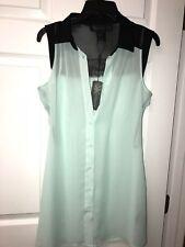 NWT Kardashian Kollection Womens Size S- Button Down Blouse Sheer Blue Black