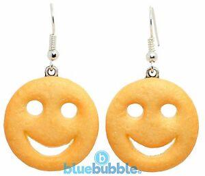 Bluebubble AMERICAN DINER Smiley Face Earrings Novelty Junk Food Kitsch Kawaii