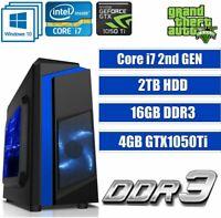 ULTRA FAST i7 Core Gaming PC Tower WIFI 16GB RAM 2TB HDD 4GB GTX 1050Ti Win 10