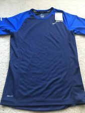 Men Nike Miler Dri Fit Crew T-Shirt Running Blue And Navy Nwt sz Small