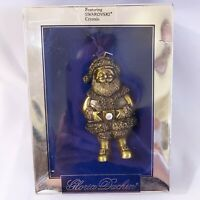 Gloria Duchin Pewter Santa Ornament with Swarovski Crystal Buckle ~NEW!!