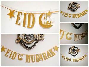 EID MUBARAK  Eid decorations Bunting Banner gold glitter Handmade *2m Long*