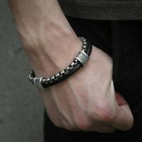 Sport 8.26inch Black Genuine Leather Bracelet Men Stainless Steel Box Chain