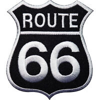 Route 66 Sign Embroidered Iron Sew On Patch Clothes Jeans Jacket Bag Biker Badge