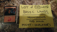 "MAGIC THE GATHERING: ""LOT of 40 MOUNTAINS"" - 40 BASIC LANDS - RED MANA! MINT!"