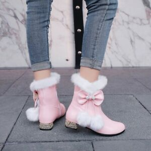 Women Round Toe Warm Fur Sweet Bowknot Round Toe Lolita Girl Ankle  Boots shoes_
