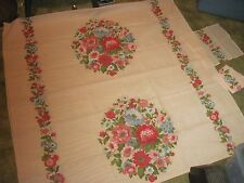 "Long Pink Tablecloth with Bright Floral Design(44""w.x86&#034 ;lg.) + 4 Napkins."