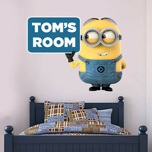 Minions Wall Stickers & Personalised Name Wall Decal - Official Despicable Me