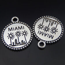"12 pcs Vintage Silver Alloy Metal Charm ""Miami"" Engraved Round Shaped Pendant"