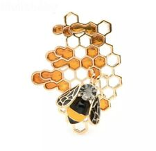 Veg Style Gold Tone and Enamel Nature Insect Honey Bee Honeycomb Brooch