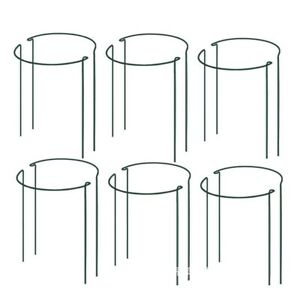 10x Round Metal Plant Supports Stake For Peonies Hydrangea Strong Metal Garden