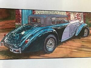 PHOTO REALISM Signed Art Drawing Painting BENTLEY? Vintage Car 6x12 PORTFOLIO PC