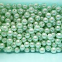 100 perles verre nacrées Ø 6 mm vert clair - création bijoux